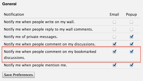 bookmark preferences